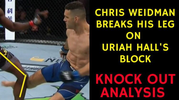 Chris Weidman BREAKS HIS LEG on Uriah Hall's block - KO Analysis
